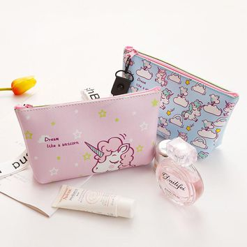 Unicorn pencil case for girls cute plant big capacity waterproof Portable pen bag stationery pouch school supplies Cosmetic Bag