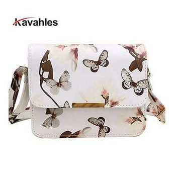 New elegant quality pu leather handbag women bag styling spray daffodil butterfly stamp sweet girl little square package F40-689