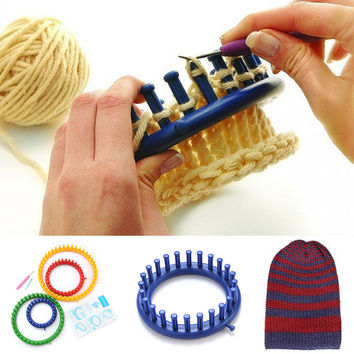 New Durable Round Circle Easy Use Woolen Hat Knitting Knitter Loom Set 4 Size Craft Tool With Needle