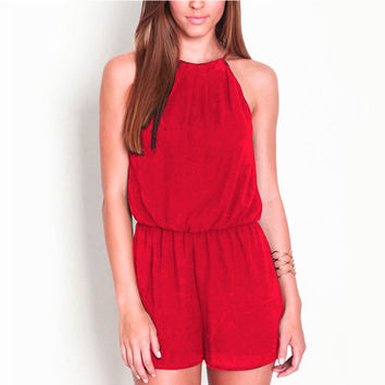 2017 Sexy Summer style Casual Jumpsuit Sleeveless Halter Keyhole Back Jumpsuits Rompers Womens Clothing