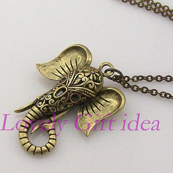 elephant necklace,hollow out elephant necklace,Antique bronze chain personalized jewelry fashion necklace,cute,steampunk Unique gift vintage