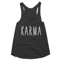 Karma, racerback tank, yoga, workout, tank top, gym shirt, fitness, top, hot yoga, yogi, meditation