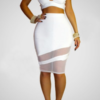 Sleeveless V-neck Bodycon Cropped Top Mesh Accent Midi Skirt Set