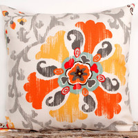 Orange Pillow Cover. 18 x 18 inch. Floral Decor. Girls Room Accents. Orange. Yellow Flowers. White. Cream. Gray