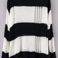 Navy White Ripped Striped Long Sleeve Knit Sweater