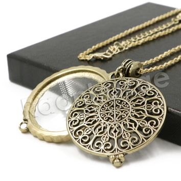 Antique Vintage Design 5X Magnifying Glass Locket Pendant Necklace