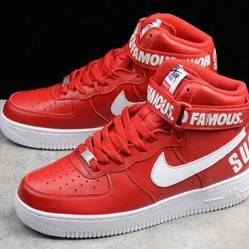Supreme x Nike Air Force One High Top Red Sneaker 698696-610