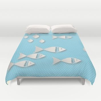 Fishes & Waves Duvet Cover by Mirimo