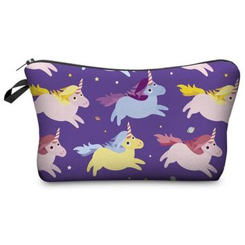 Super Cute Purple Colorful Unicorn Photo Printed Chic Women's Makeup Cosmetic Bag Zippered Pouch