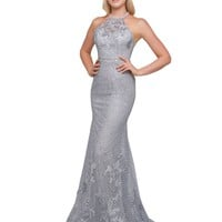 Mac Duggal Prom - Glistening Silver Nude High Neck Gown Prom Dress