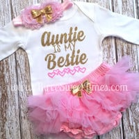 Auntie Is My Bestie Baby Girl Outfit | Baby Shower Gift | Tutu Bloomer | Pink Gold Glitter  | Headband | Aunt Godparent
