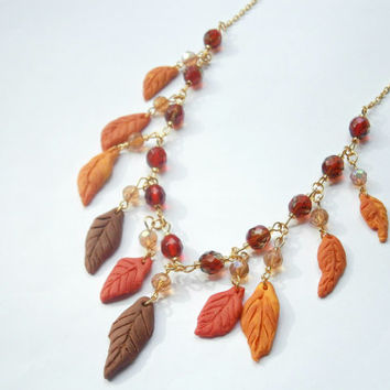 Leaf Necklace - Autumn Jewelry - Polymer Clay Necklaces - Natural Jewellery - Statement Necklace - Red Orange - Fimo Necklace