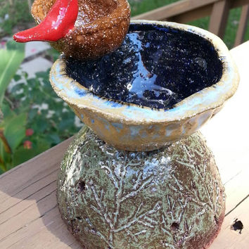 Handcrafted Sculpture Red Bird on Bird Bath Pottery Sculpture by Michele Patton