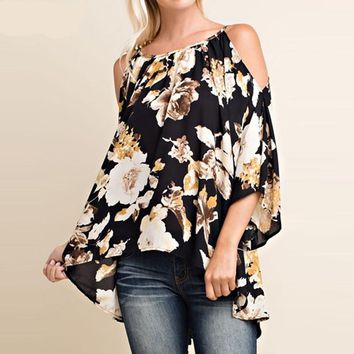 Floral Printed off the shoulder flared Sleeve tops