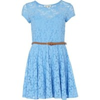 blue lace belted skater dress - skater dresses - dresses - women - River Island