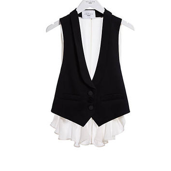 Express Edition Black And White Shawl Collar Vest