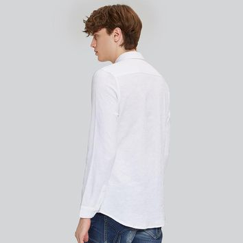 Arrival Cotton Linen Casual Shirts Men White Shirt Long Sleeve Male Slim Fit Shirts