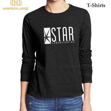 The Flash STAR Labs Hipster Women T Shirt 2017 Hot Sale Autumn T-Shirt For Lady 100% Cotton Women Long Sleeve Harajuku T-Shirts