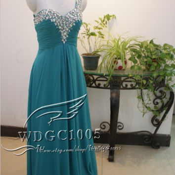 Sexy one shoulder sweetheart prom dress, long turquoise chiffon bridesmaid dress,  bead beach bridal party dress formal evening dress