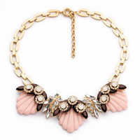 Flesh Shell Pattern Faux Crystal Pendant Necklace
