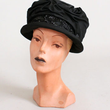 Vintage Early 1920s Black Silk Cloche Hat