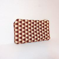 Small Zipper Pouch Coin Purse Small Wallet  Brown Honeycomb Print