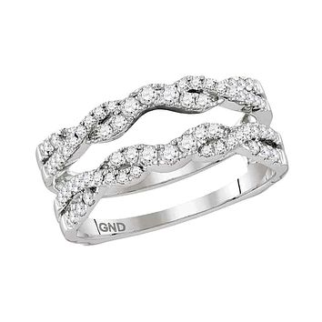 14kt White Gold Women's Round Diamond Ring Guard Wrap Solitaire Enhancer 1/2 Cttw - FREE Shipping (US/CAN)