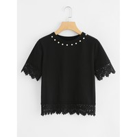 Lace Trim Pearl Beaded Tee