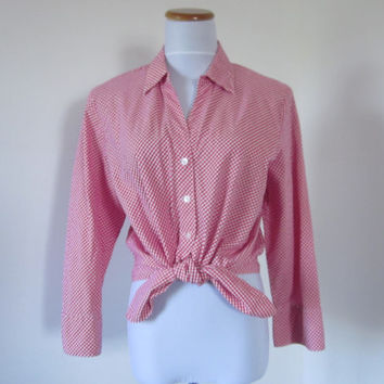 Vintage Cropped Top Red and White Tie Front Blouse Talbots Gingham Check Shirt Womens Large Hip Hop