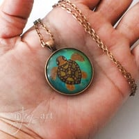 Wearable Art, Turtle Pendant with necklace, original acrylic painting under glass, mini art, NOT A PRINT