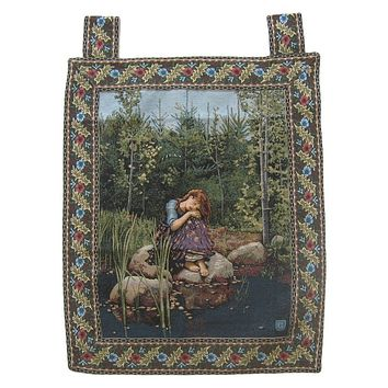 """Fairy Girl Forest Behind The Veil Woven Artistic Elegant Woven Fabric Baroque Tapestry Wall Hanging - 28"""" x 43"""""""