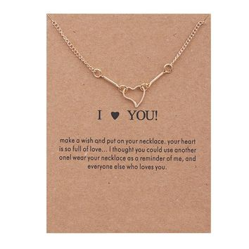 Golden Hollow Heart Card Alloy Clavicle Pendant Necklace  171208