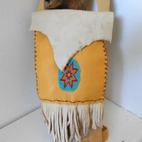 Hand Beaded Leather Bag, Cross Body, Small Shoulder Purse, Native American, Hippie, Boho, Gypsy