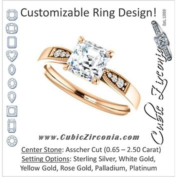Cubic Zirconia Engagement Ring- The Ruth (Customizable 7-stone Asscher Cut Style with Vintage Filigree)
