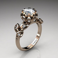 Unique 14K Rose Gold 1.0 Ct White Russian Ice CZ Diamond Lifetime Flower Engagement Ring Wedding Ring R1032-14KRGDRICZ
