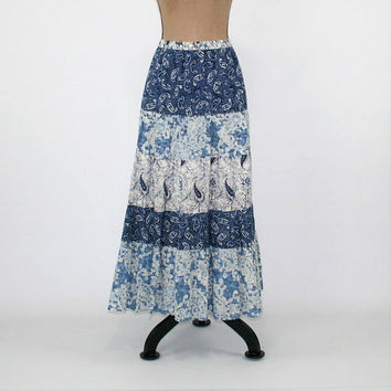 Plus Size Maxi Skirt Long Cotton Skirt XL Blue Paisley Hippie Boho Clothing Full Skirt Hippie Clothes 1X Coldwater Creek Womens Clothing