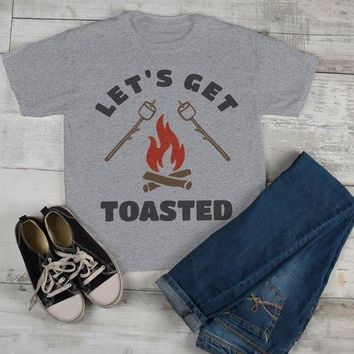Kids Funny Bonfire T Shirt Let's Get Toasted Marshmallow Graphic Tee Camping Shirts Boy's Girl's Toddler