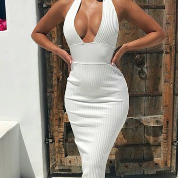 Oh You Wish White Sleeveless Ribbed Plunge V Neck Halter Bodycon Bandage Maxi Dress