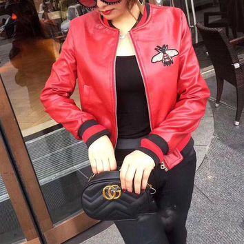 DCCKXT7 Gucci' Women Fashion Bee Embroidery Multicolor Long Sleeve Zip Cardigan  PU Leather Clothes Jacket Coat