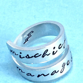 Mischief Managed - Magic Book Inspired - Geeky Ring  - Aluminum Wrap Ring  - Gift Under 20