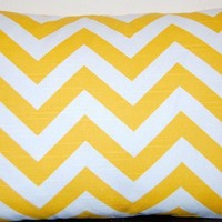 Lumbar Pillow Cover Yellow Zig Zag Chevron by FestiveHomeDecor