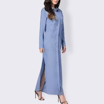 Vintage Women Buttons Down Denim Look Casual Loose Long Maxi Dress Winter Autumn Ladies Turn-down High Split Kaftan Vestido