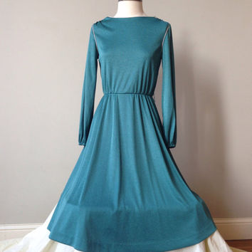 70s Vintage Teal Dress Women Aqua Marine Secretary Dress Small to Xs
