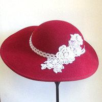 Red Vintage Hat, Refurbished, Lace Appliqué, Easter, Tea Party, Mothers Day, Kentucky Derby