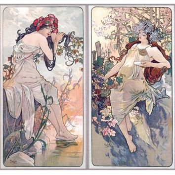 Nouveau 4 Panel by Alphonse Mucha Fine Art Print