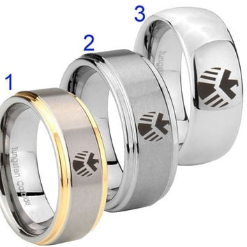 Tungsten Marvel Agents 8MM Gold IP Silver Dome Step Edge Wedding Ring Full & Half Size 7 to 14