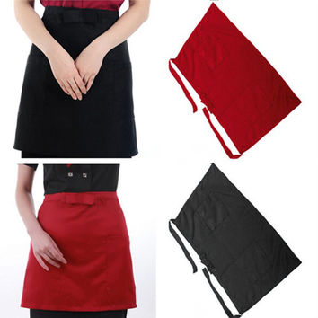 Cotton Short Half Waist Apron Home Kitchen Aprons With Pockets Cooking Tool