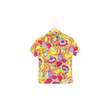 90s sunny floral short sleeve button down shirt / vintage 1990s / bold / colorful / multicolor / wild / flowers / bright / tropical / small