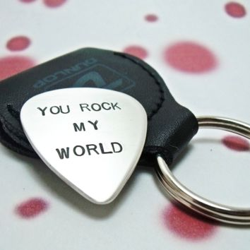 Guitar Pick/Guitar Plectrum with Leather Key Ring Holder