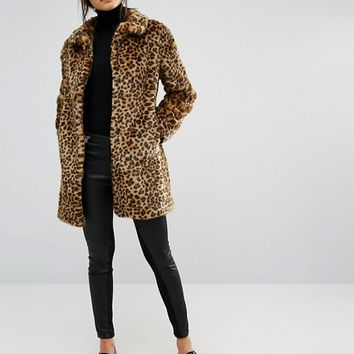 Oasis Animal Print Faux Fur Coat at asos.com